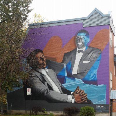 Peinture murale représentant Oliver Jones à voir dans l'arrondissement du Sud-ouest.
