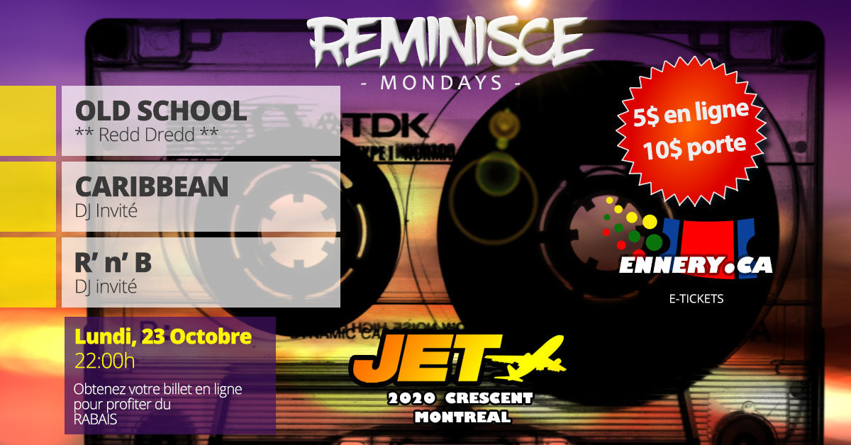 Soirée Reminisce Mondays le 23 octobre au Jet Club avec DJ Redd Dredd